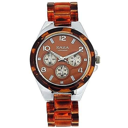 Zaza London Chrono-Stil Damensportuhr mit braunem Armband PL41 -