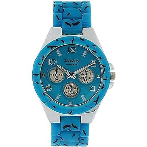 Zaza London Chrono-Stil Damenuhr mit Leopardenmuster und tuerkisem Armband PL41