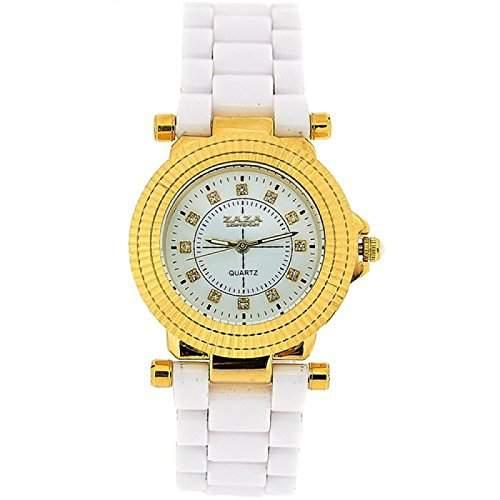 ZAZA LONDON Damenarmbanduhr mit gelbgoldfarbener und Kristall besetzter Luenette sowie weissem Ziffernblatt und weiss-rotgoldfarbenem Armband Z01L