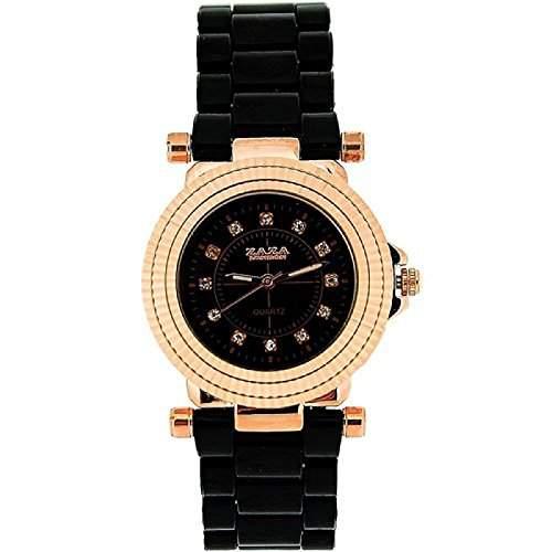 ZAZA LONDON Damenarmbanduhr mit rotgoldfarbener und Kristall besetzter Luenette sowie schwarzem Ziffernblatt und schwarz-rotgoldfarbenem Armband Z01L