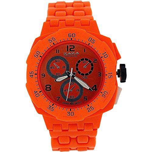 ZAZA LONDON Damen mit Chrono Effekt orangefarben Plastikarmband PL342
