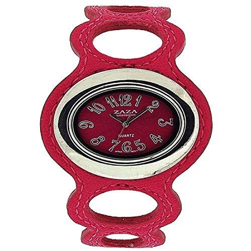 ZAZA LONDON Damenarmbanduhr mit pinkfarbenem Ziffernblatt und Kunstlederarmband in Ring Design