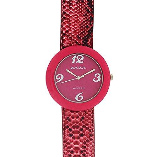 Zaza London Krokostil Damenmodeuhr mit rosa Zifferblatt LLB 855
