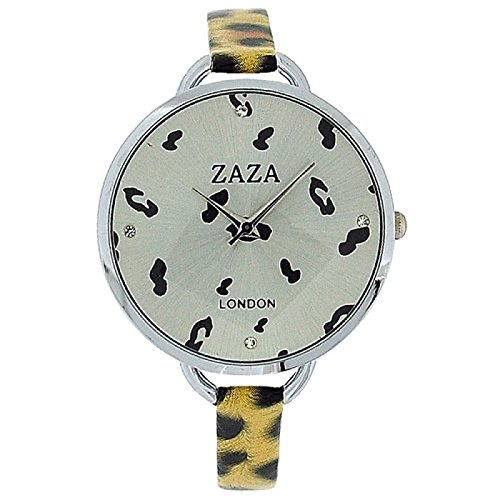 ZAZA LONDON LLB872 Modische Damenarmbanduhr in schwarz goldenem Leopard Design mit silbernem Ziffernblatt
