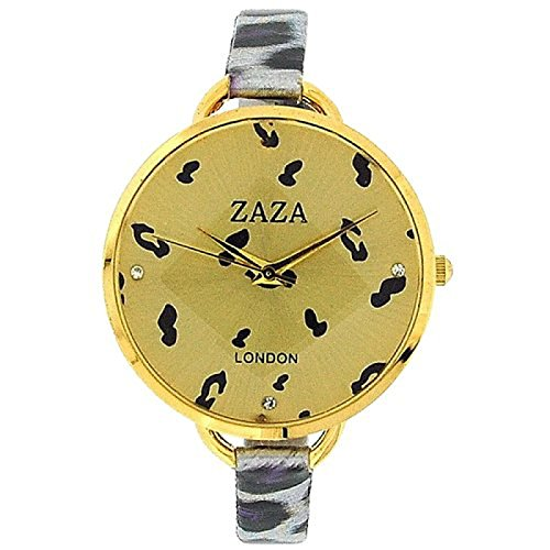 ZAZA LONDON LLB872 Modische Damenarmbanduhr in lilafarbenem Leoard Design