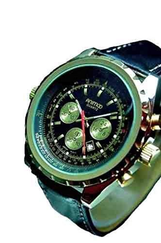 Animoo Quarz XXL Leder Armbanduhr mit Datumsanzeige Retro Herrenuhr A00-2013-05