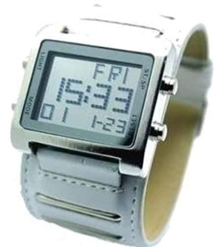 ANIMOO XXL Armbanduhr Weisse Digital Leder Uhr Herrenuhr Alarm Stoppuhr Neu