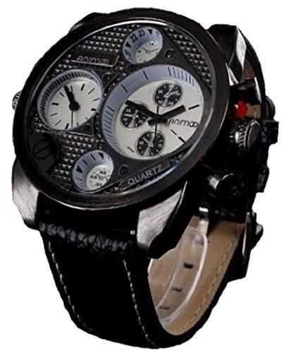 ANIMOO XXXL U BOOT Herren Uhr Chrono Look Dual Time mit 2 einstellbaren Uhrwerken