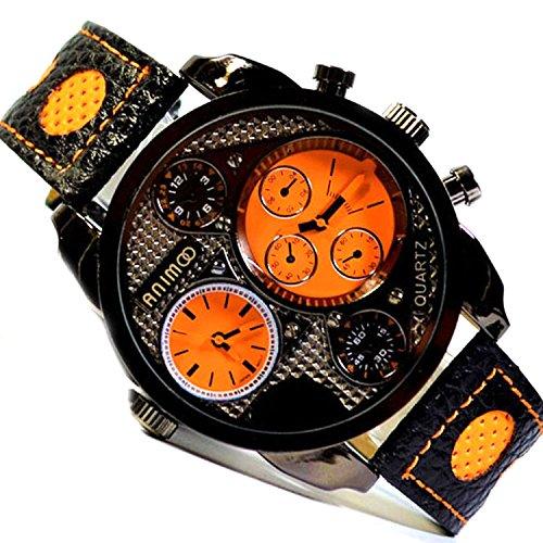 Animoo XXL Schwarz Orange 2 Zeit Uhrwerk Dual Time