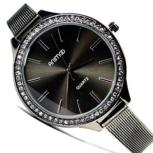 Animoo Damenuhr Armbanduhr Schwarz mit Strasssteine Mesh Armband Elegante Uhr