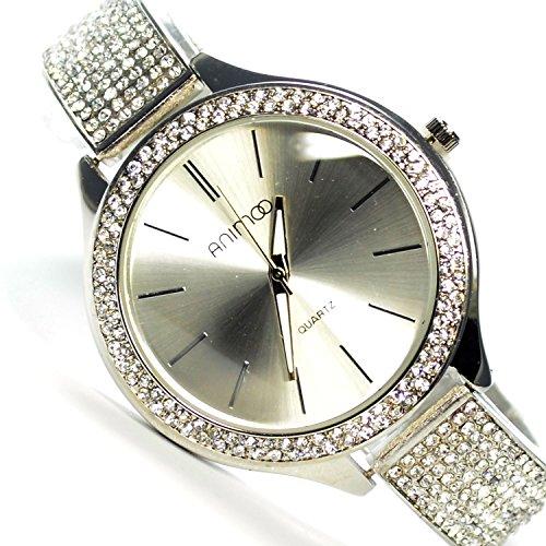 Animoo Armbanduhr in Silber mit sehr Strasssteine Elegante Uhr