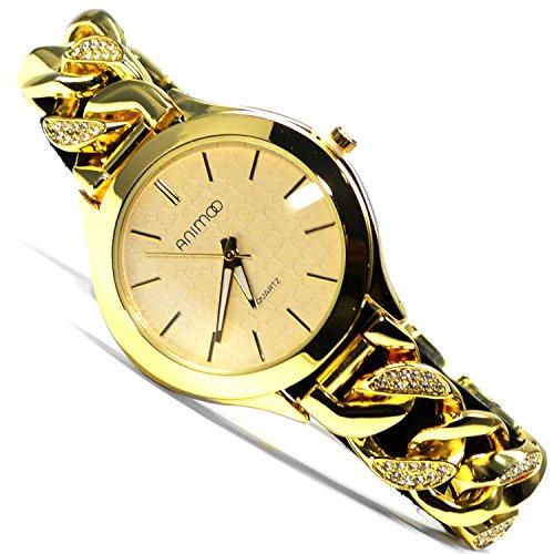 Animoo Armbanduhr Gold Look Strasssteine Kettenarmband Elegante Uhr