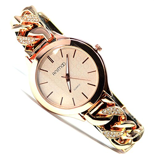 Animoo Armbanduhr Rose mit Strasssteine Kettenarmband Elegante Uhr