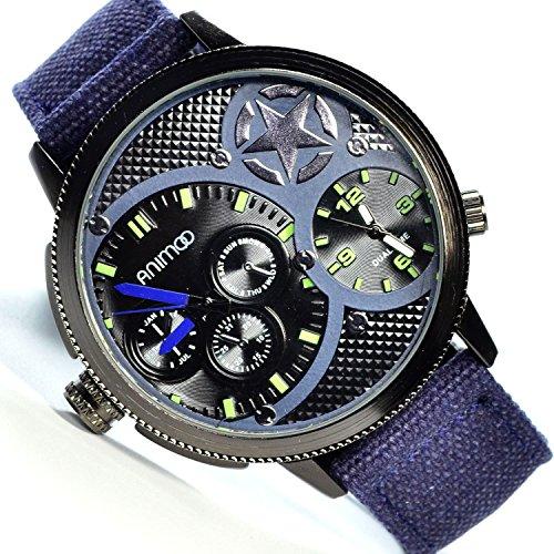 Animoo Dual Time mit 2 Zeiteinstellungen Schwarz Blau 53mm Uhr