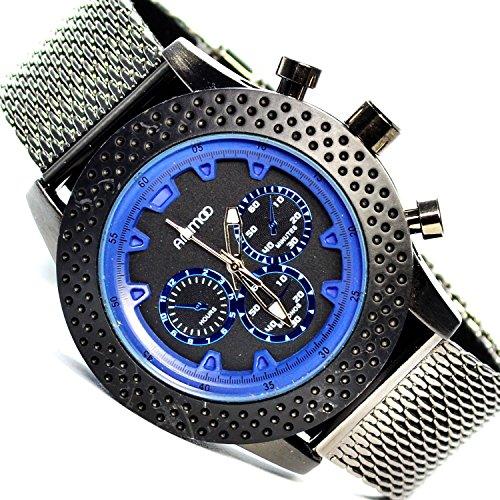 Animoo Chrono Look mit Mesh Armband in Silber Schwarz Blau Armbanduhr