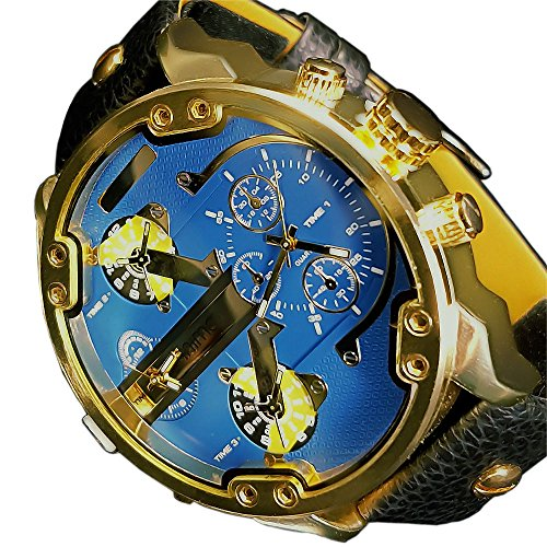 Animoo Monster Blau Gold 2 Zeit Chronograph Look 60 mm Power XXXL Uhr