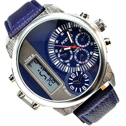 XXXL Animoo Monster Analog Digital Dual Time Armbanduhr Silber Blau
