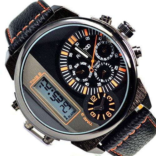 XXXL Animoo Monster Analog Digital Dual Time Armbanduhr Schwarz Orange