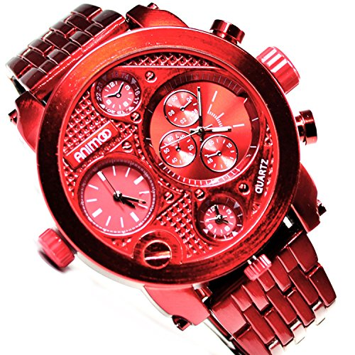 Animoo Monster Metallic Rot 3 Zeit Chronograph Look 58 mm Power Uhr