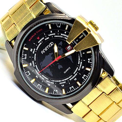Animoo Power Uhr in Schwarz Gold mit Datumsanzeige Design Watch Armbanduhr