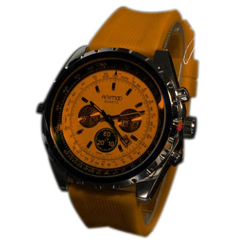 Animoo Silikonuhr Chronograph Look Flieger Orange Uhr Retro XXL Design UBoot