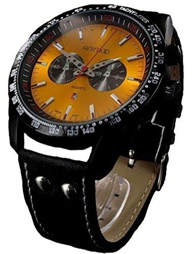 Animoo Tachymetre Watch XXL Lederband mit Datumsanzeige auf 18 00 Uhr