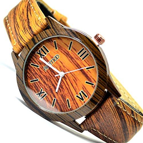 Animoo Unisex Armbanduhr in Holz Optik Wood Look Braun Trend Fashion Uhr