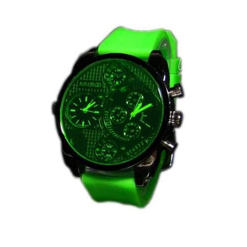 SILIKON UHR Mode Schwarz Gruen Armbanduhr DUAL Herrenuhr Sport STYLE Trend WATCH