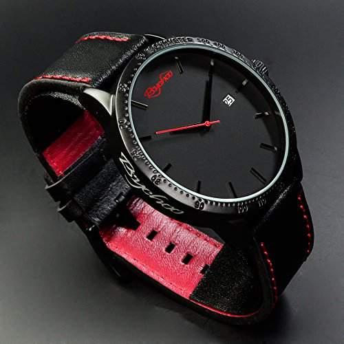 Power XXL Herrenuhr in Schwarz Rot mit Silikonarmband von Animoo, Chronograph Look Uhr in Power Design, New Style