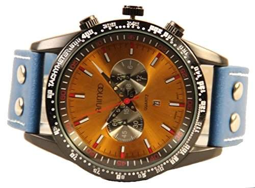 Animoo XXL Uhr mit Tachymeter und Datum Leder Herrenuhr in Blau