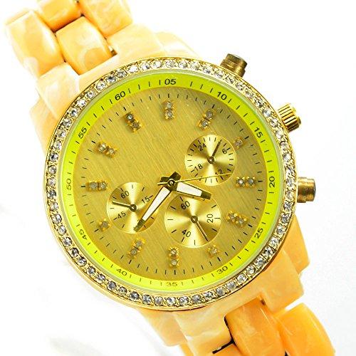 Gold Beige Creme mit Strass Chrono Look Al 563