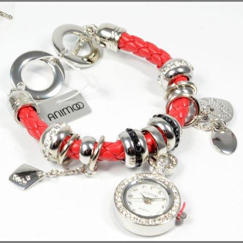 in Rot Silber von Animoo Betteluhr Trend Fashion Uhr mit Haengern