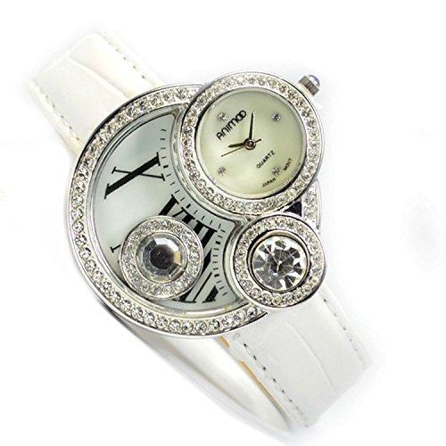 Armbanduhr Weiss Silber Roemische Zahlen Trend Fashion Uhr Strassstein
