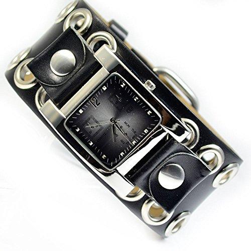 XXL Damenuhr Armbanduhr in Schwarz Silber Nieten Trend Mode Fashion Uhr al 588