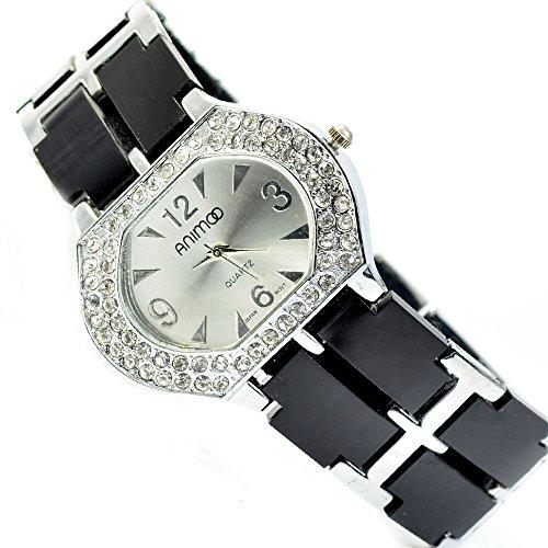 Schwarz Silber Strass Strasssteine Fashion Uhr al 516