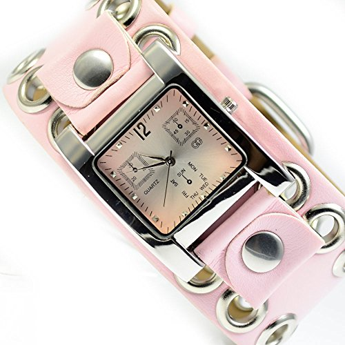 XXL Damenuhr Armbanduhr in Rosa Silber Nieten Trend Mode Fashion Uhr al 588