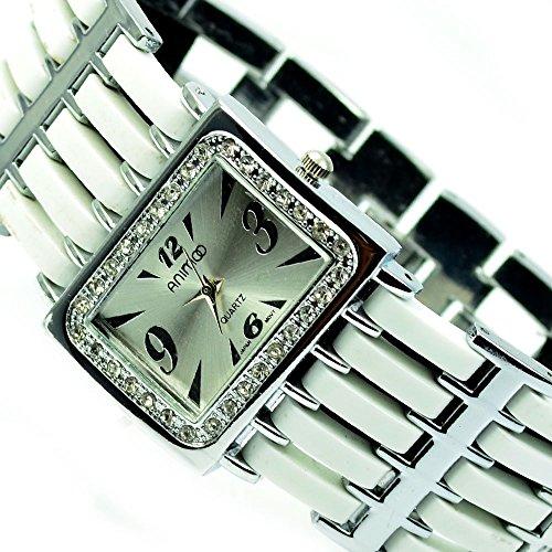 Silber Weiss Strass Strasssteine Mode Uhr al 572