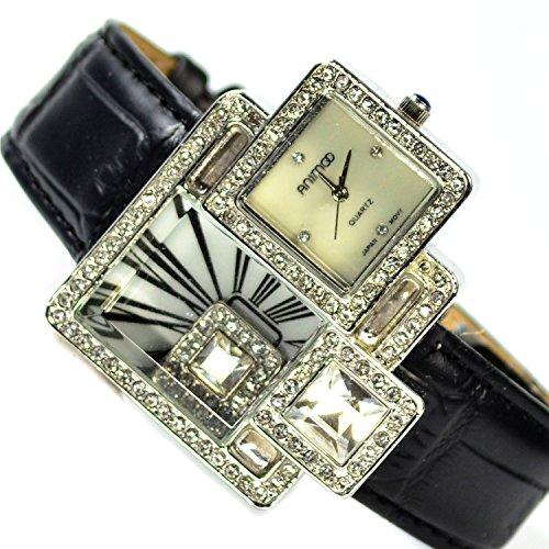 XXl Damenuhr Armbanduhr in Silber Strasssteine sehr Edele Elegante Damen Uhr