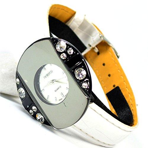 Armbanduhr Silber Weiss verspiegelt Trend Damen Fashion Strass Uhr