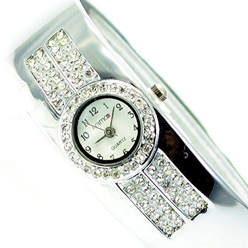 Damenuhr Damen Armbanduhr mit Strass Spangenuhr in Silber Mode Trend Uhr al 569
