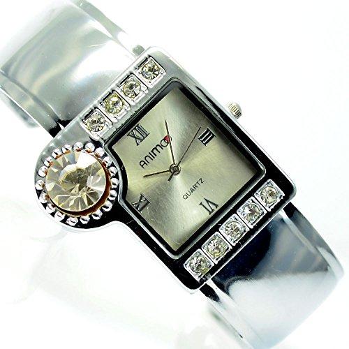 Damenuhr Damen Armbanduhr mit Strass Spangenuhr in Silber Mode Trend Uhr al 565
