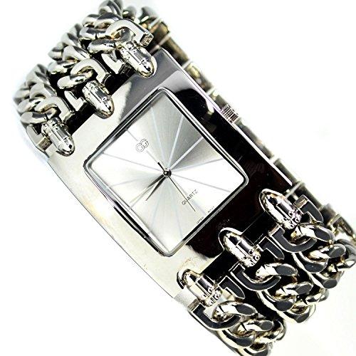 XXL Armbanduhr Silber Strasssteine Kettenarmband Elegante Uhr
