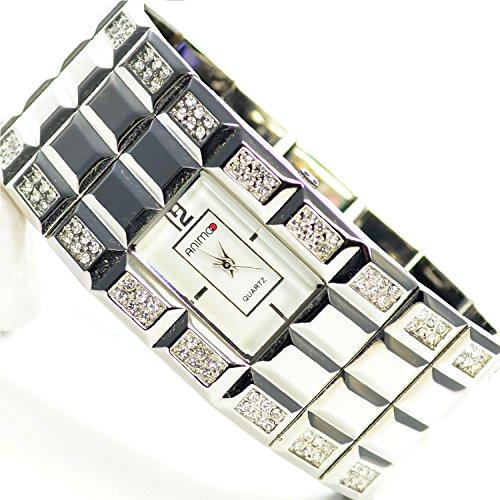 Damenuhr Armbanduhr in Silber mit 96 x Strasssteine Massive Fashion Uhr