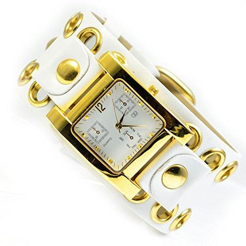 XXL Armbanduhr in Weiss Gold Trend Mode Fashion Uhr al 588