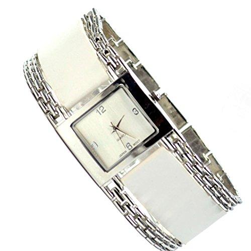 Damenuhr Elegant Armbanduhr Weiss Silber Trend Mode Fashion Style Uhr al 377