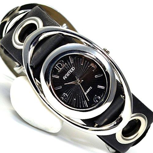 Leder in Hell Schwarz Silber Retro Designer Uhr Trend Watch