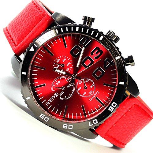 Details zu XXL Animoo Schwarz Rot in Chrono Look 50 mm Armbanduhr in Power Design