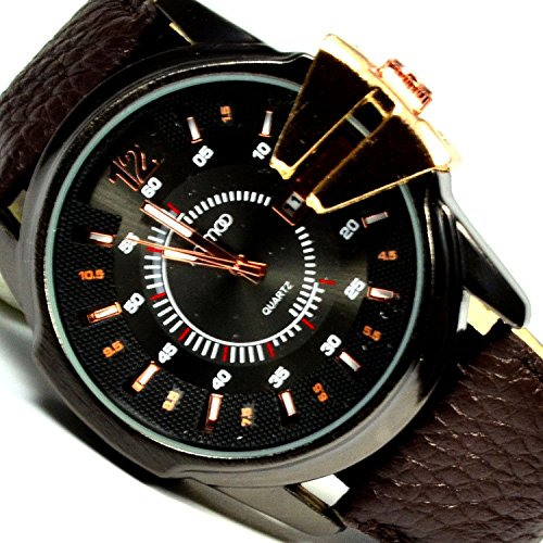 Herren Armbanduhr Rose Braun mit Datumsanzeige in XXL Retro Look Uhr Big Watch