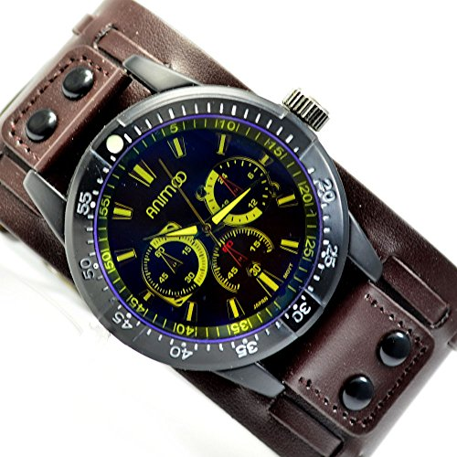 XXL Herren Braun Neongelb Armbanduhr Retro extrem schoene al 533