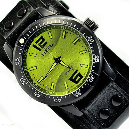XXL Herren Schwarz Neongelb Armbanduhr Retro extrem schoene al 534